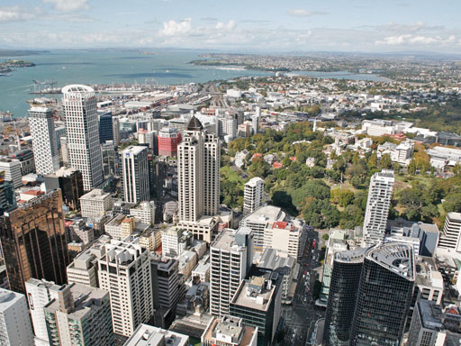 Birds eye view of Auckland city
