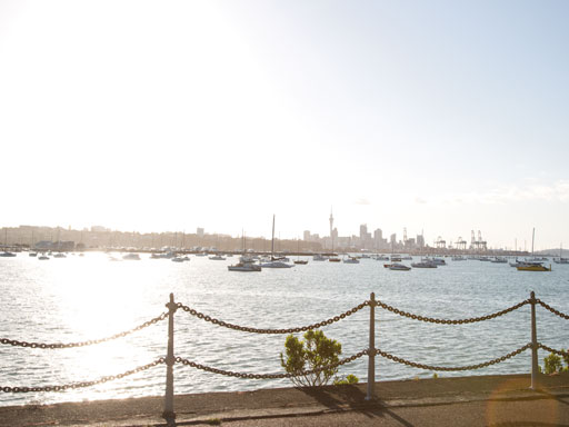 Auckland harbour with boats and chain in foreground
