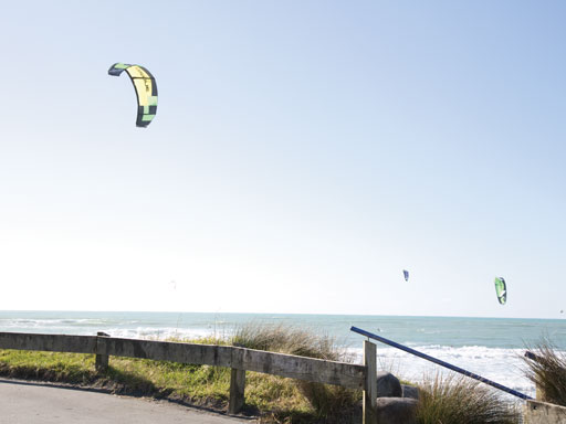 Ocean Kitesurfing view from hill