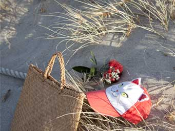 Straw bag and red and white cap lying in the sand