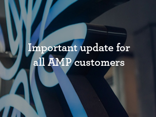 amp logo in room